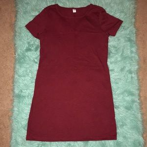 NWT Old Navy burgundy simple tee dress   size M